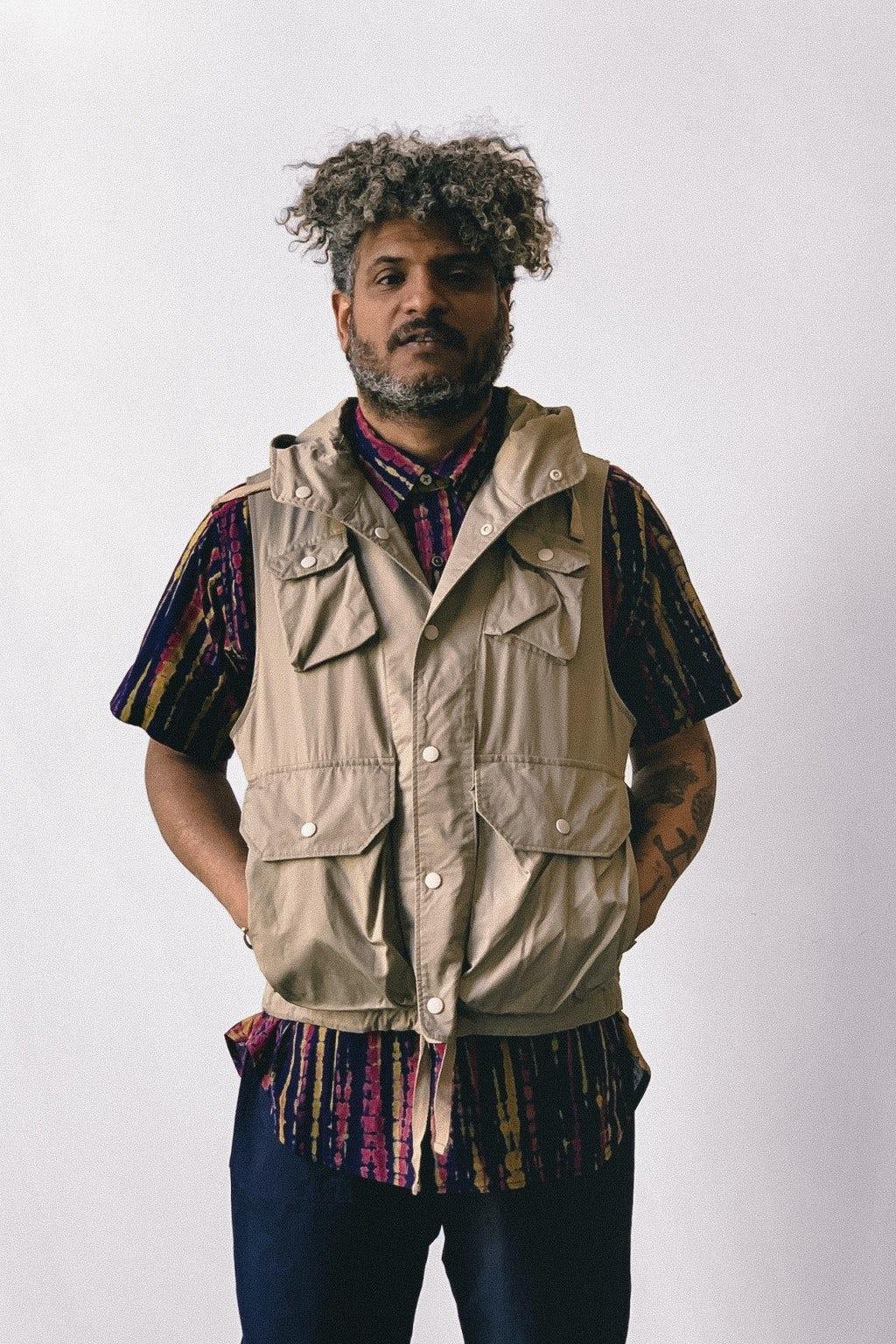 Engineered Garments Popover BD Shirt Navy Cotton Lawn Batik