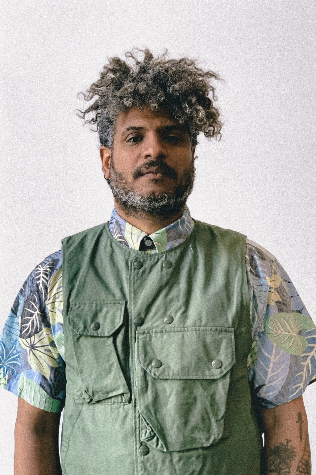 Engineered Garments Cover Vest Olive Cotton Ripstop