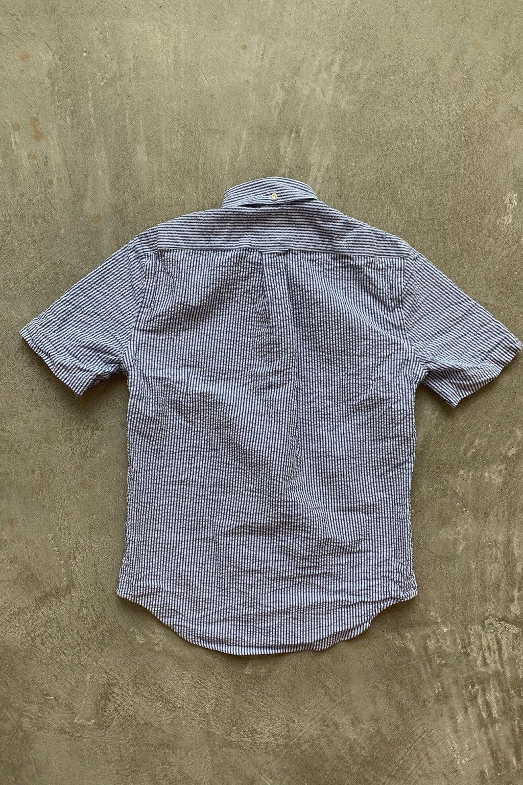 Gitman Bros. Vintage Short Sleeve Shirt  Blue/White Stripe Seersucker