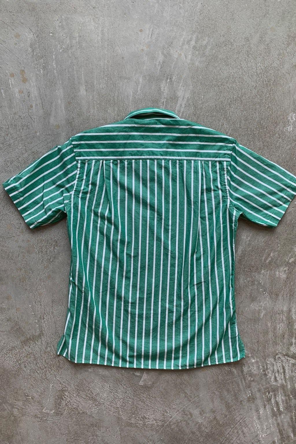 Gitman Bros. Vintage Camp Shirt  White/Green Stripe