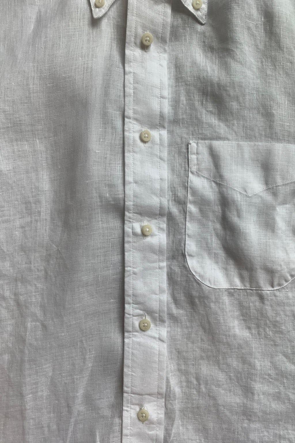 Gitman Bros. Vintage Short Sleeve Button Down Shirt  White Linen