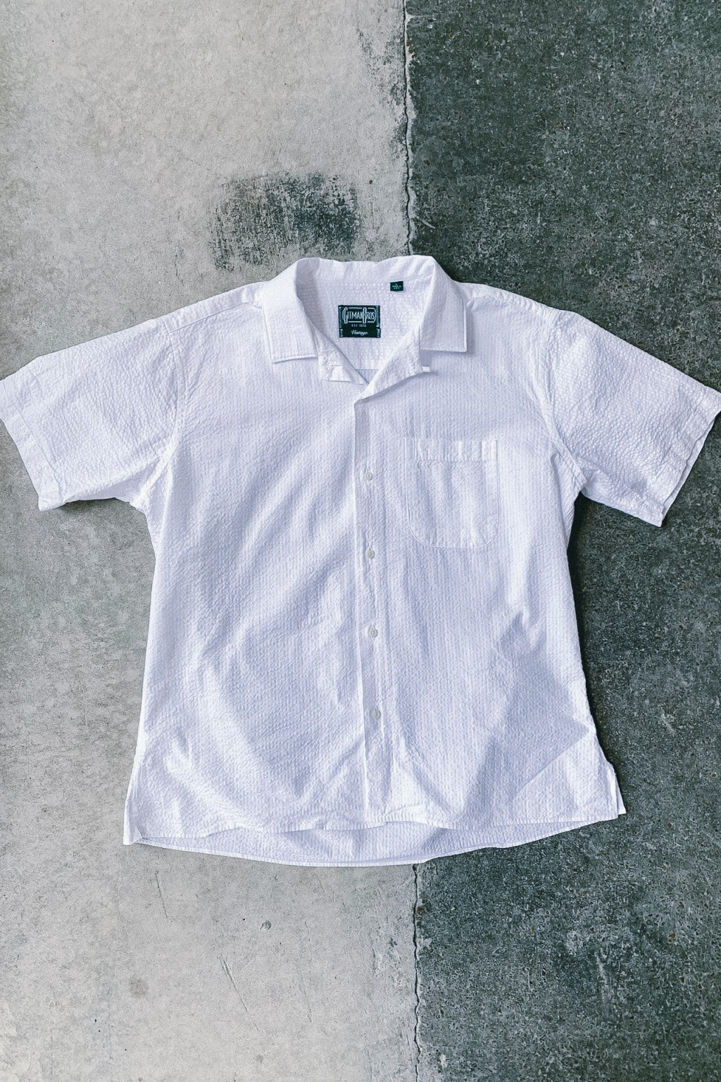 Gitman Bros. Vintage Camp Collar Shirt White Seersucker