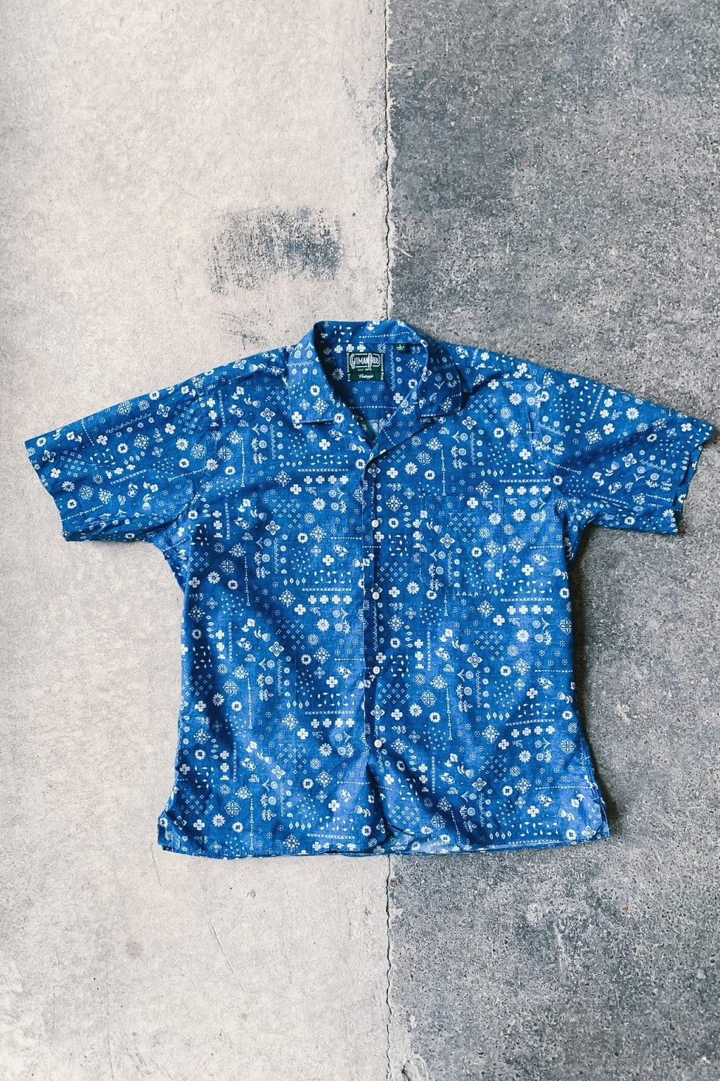 Gitman Bros. Vintage Camp Collar Shirt Blue Indigo Bandana Print