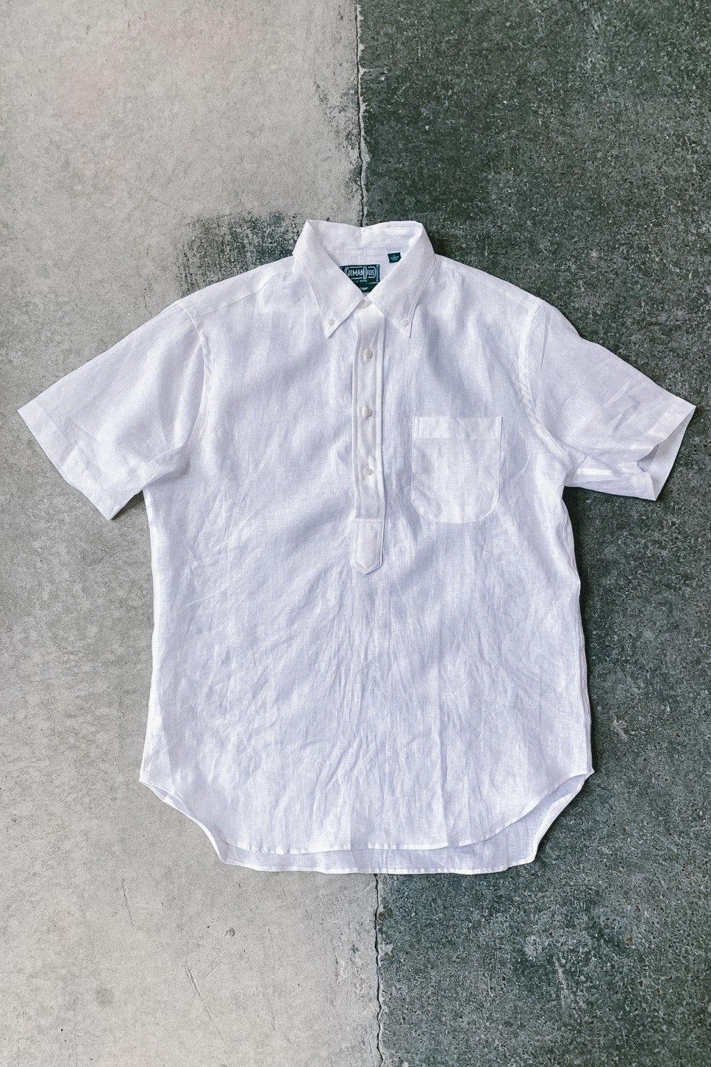 Gitman Bros. Vintage Short Sleeve Popover Shirt White Linen