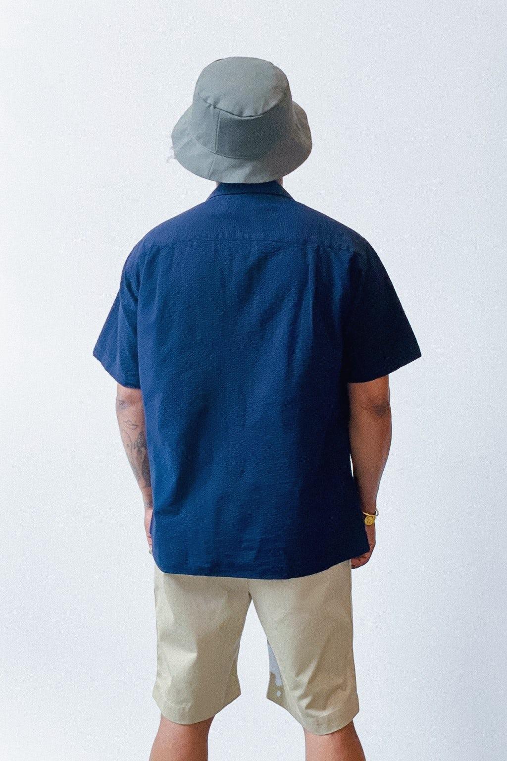 Gitman Bros. Vintage Camp Collar Shirt Navy Overdye Seersucker