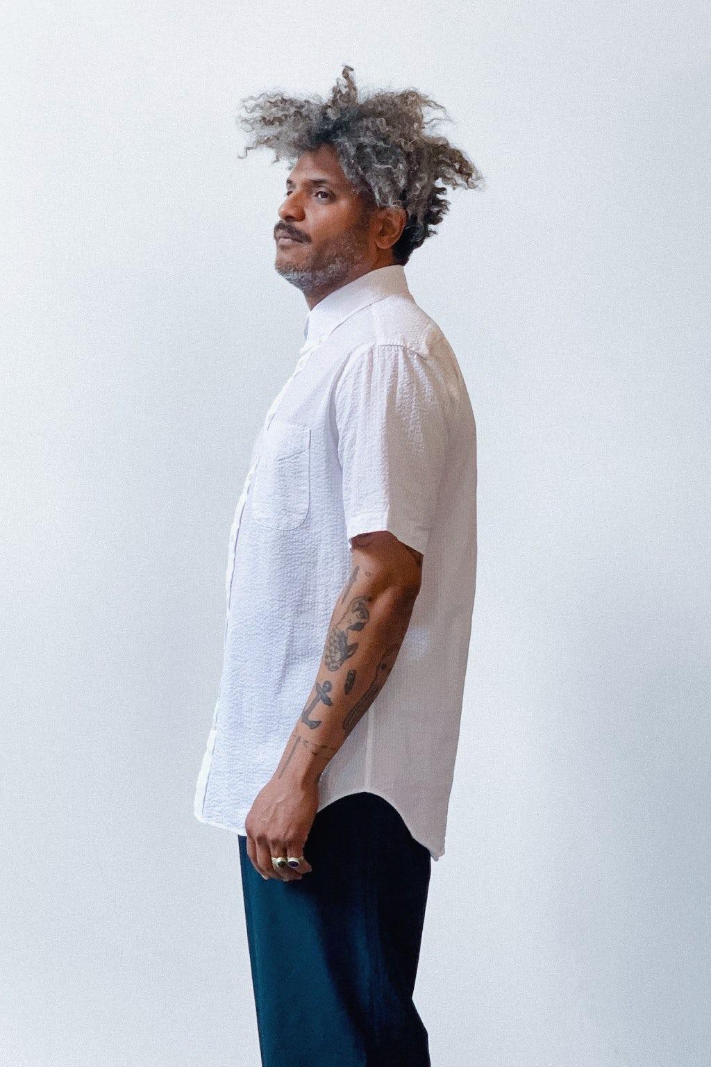 Gitman Bros. Vintage Short Sleeve Button Down Shirt White Seersucker