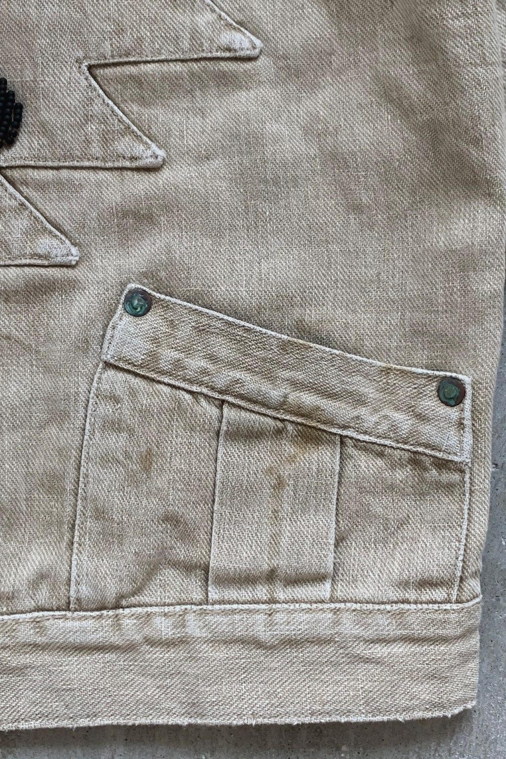 Kapital Heavy Linen Twill STD Thunderbird Jacket ZUNI Remake Beige