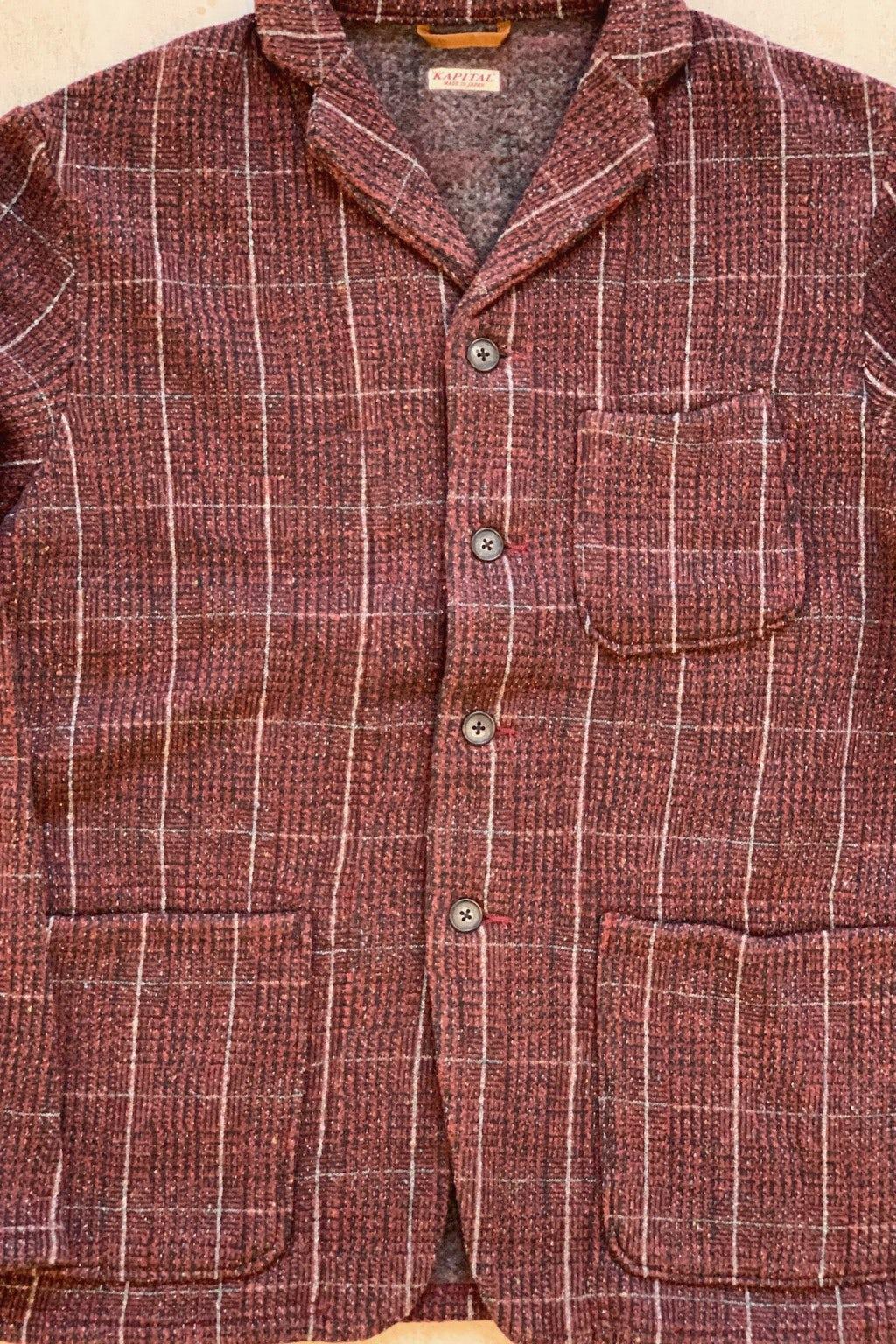 Kapital Tweed Fleecy Knit KOBE Jacket Burgundy