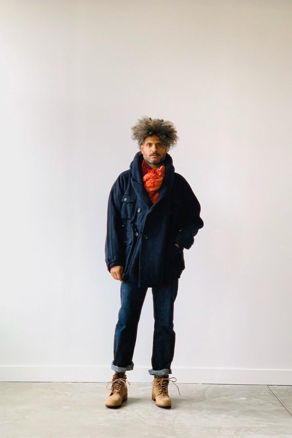 Kapital Vintage Melton Wool RIng Coat Navy
