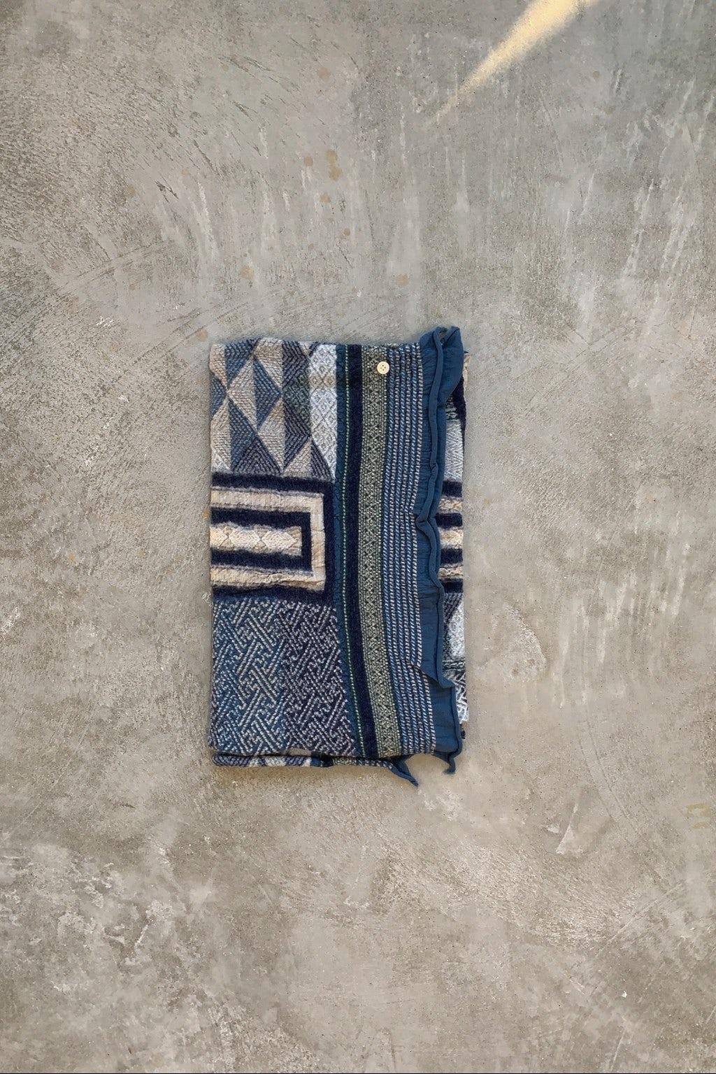 Kapital Compressed Wool Scarf Tweed Kogin Cross Navy