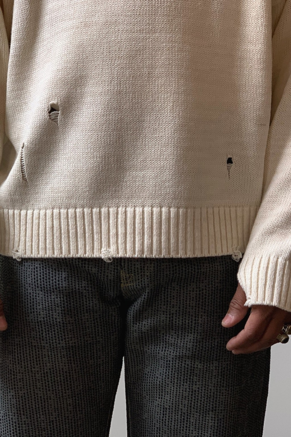 Kapital 5G Cotton Knit SMILIE Patch Crew Sweater Ecru