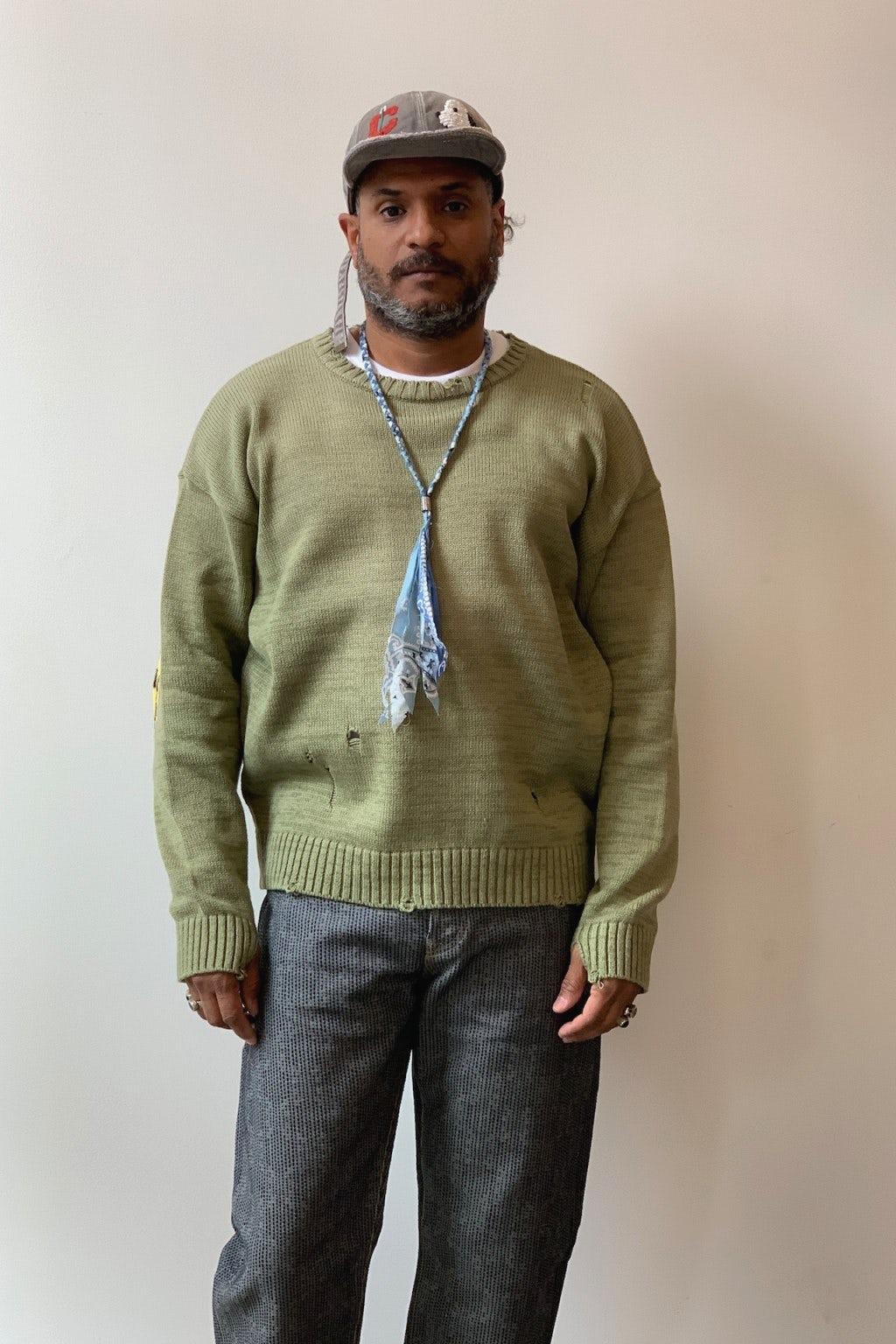 Kapital 5G Cotton Knit SMILIE Patch Crew Sweater Khaki