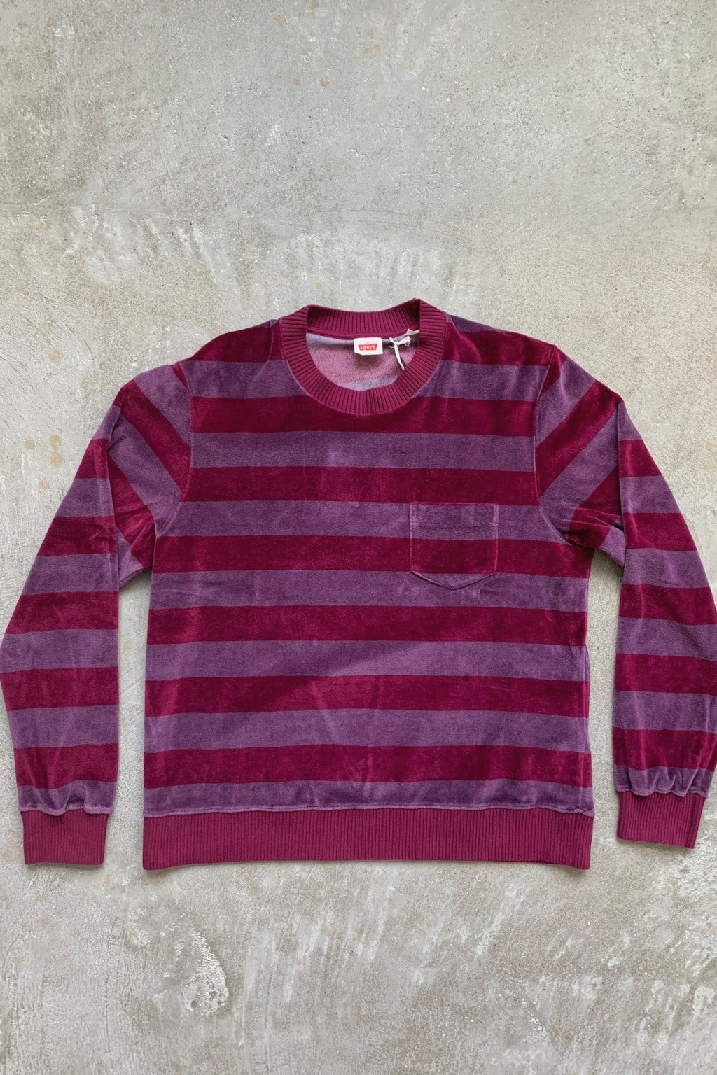 Levi's 1960's Velour Crew Tonal Purple Stripe
