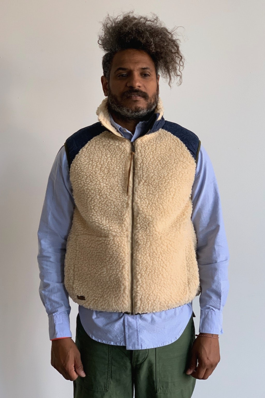Orslow Fleece Vest Ecru