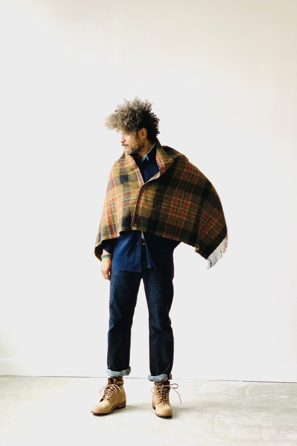 Kapital Country Wool Check Fringed Origami Poncho Grey & Khaki