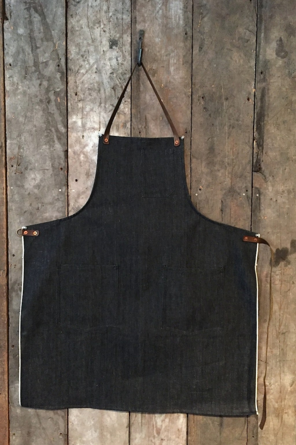 Stanley & Sons Standard Apron with Leather Straps Indigo Selvage Denim
