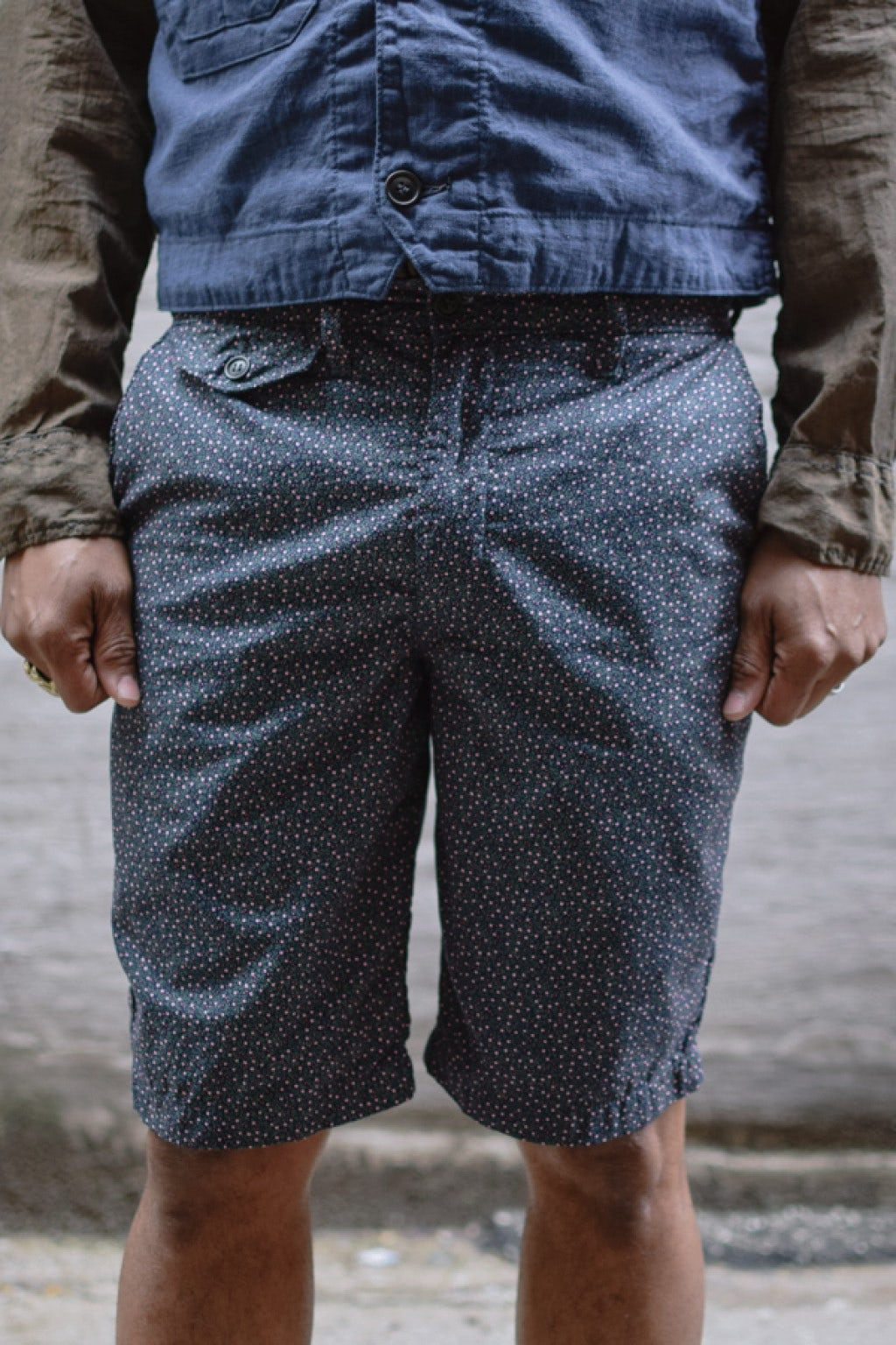 Post Overalls Menpolini Lined Shorts Navy/Salmon Floral Cotton