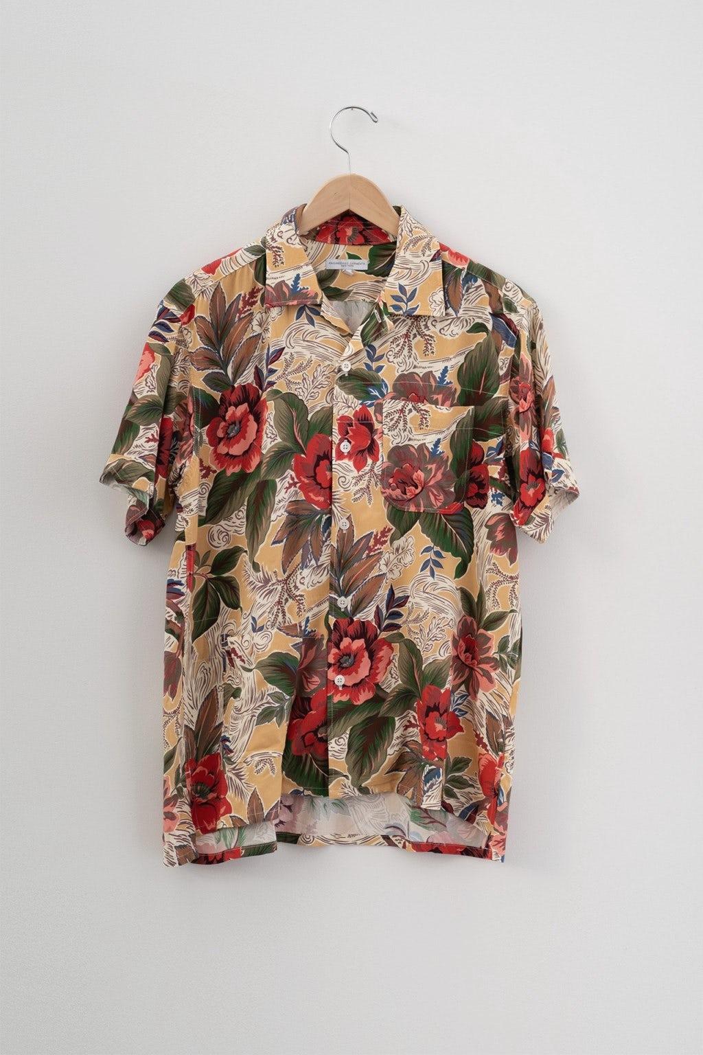 Engineered Garments Camp Shirt Yellow Hawaiian Rayon Floral