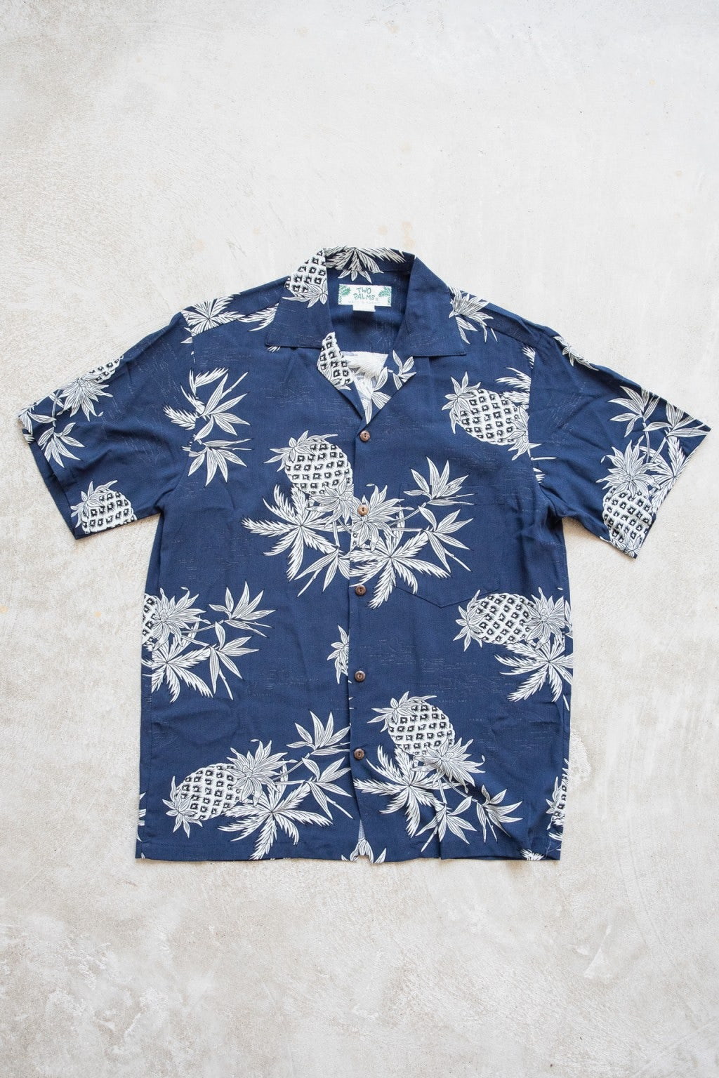 Two Palms Pineapple Map Shirt Navy