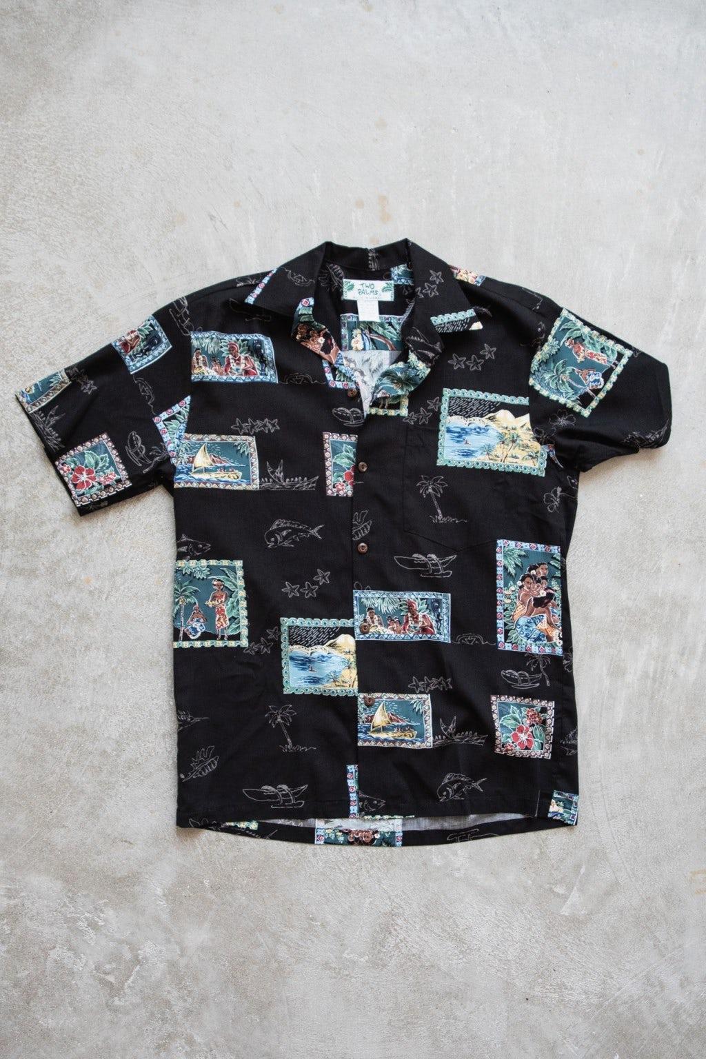 Two Palms Postcards Shirt Black