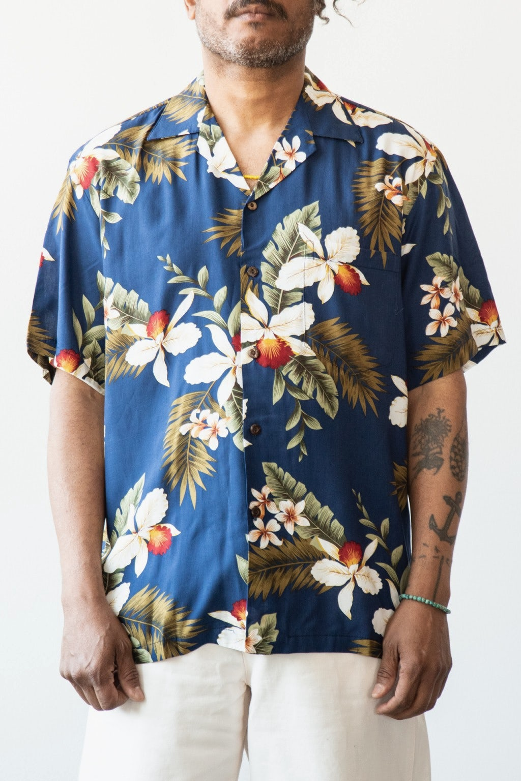 Two Palms Hawaiin Orchid Shirt Navy