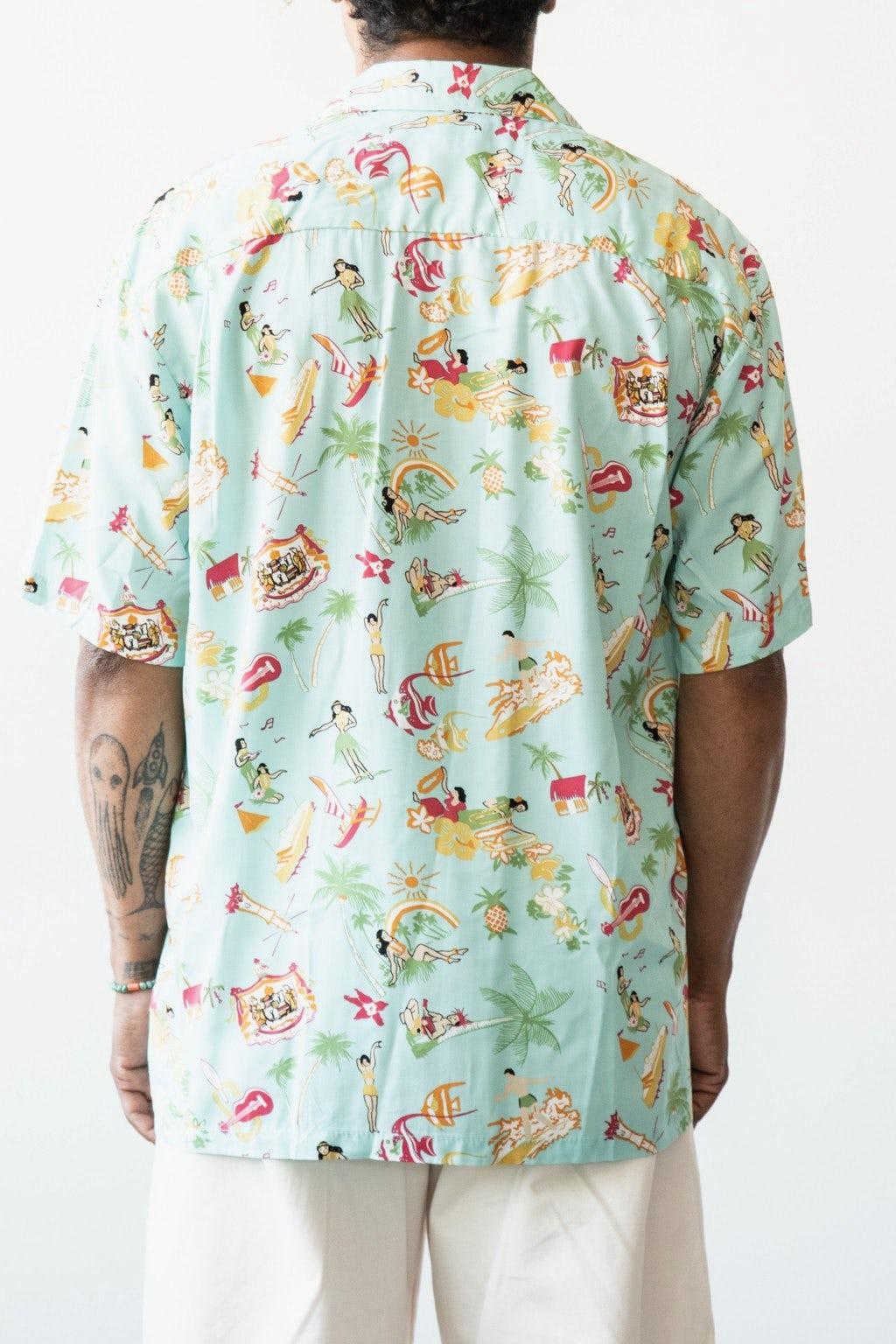 Two Palms Vintage Aloha Shirt Aqua
