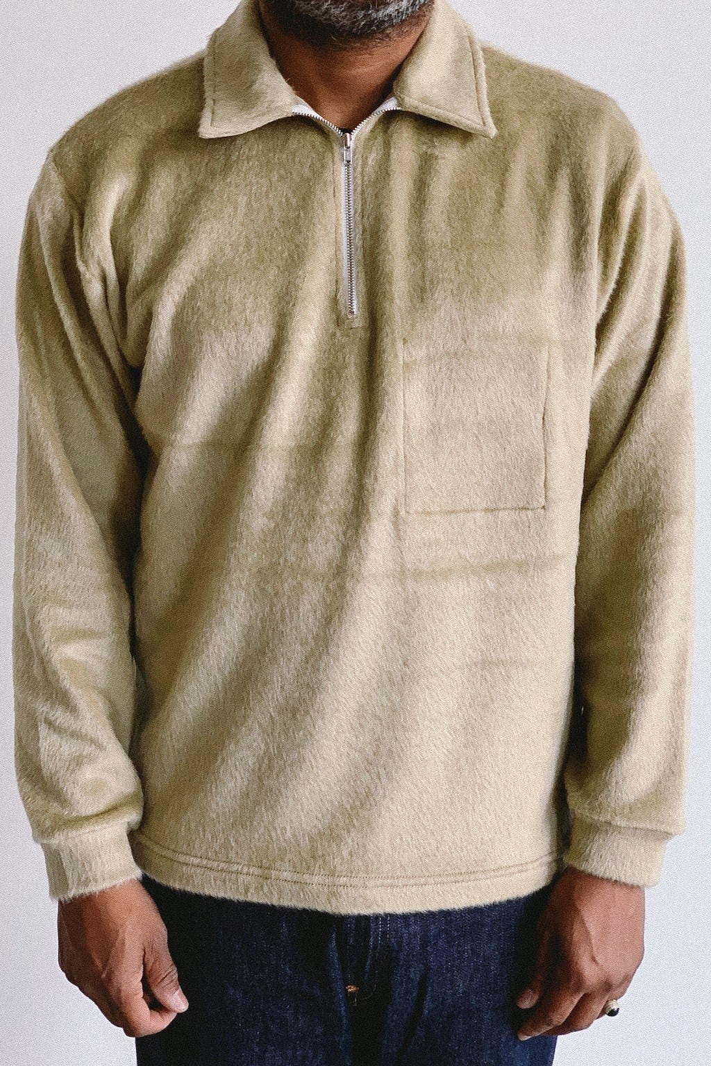 Lady White Co. Furry Quarter Zip Beige