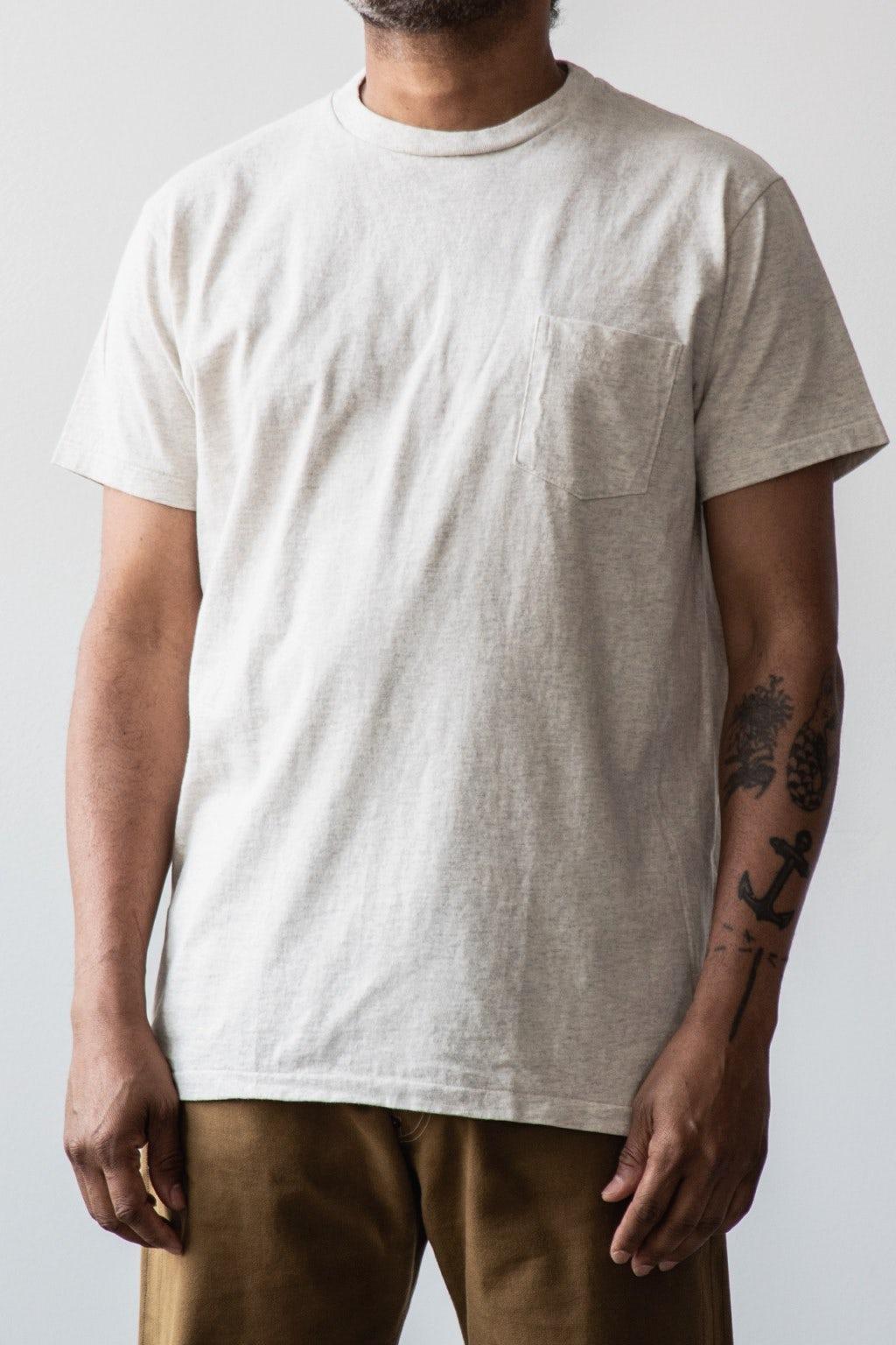 Velva Sheen Two Pack Pocket T-Shirts White & Oatmeal