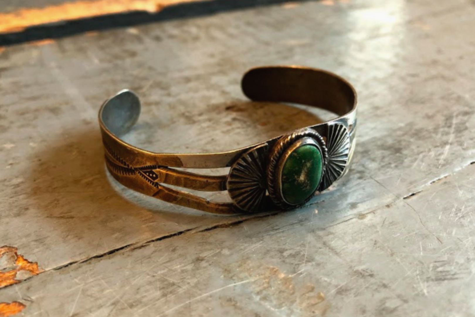 Independence Vintage Goods Crescent Fan Cuff Sterling Silver & Turquoise
