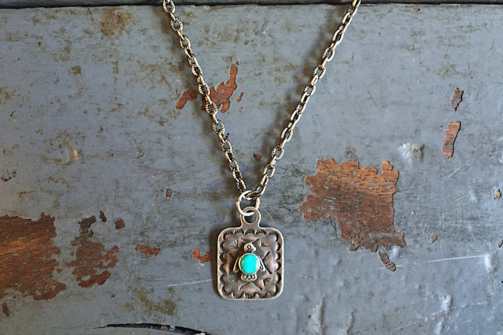 Independence Vintage Goods Pendant Necklace Sterling Silver & Turquoise