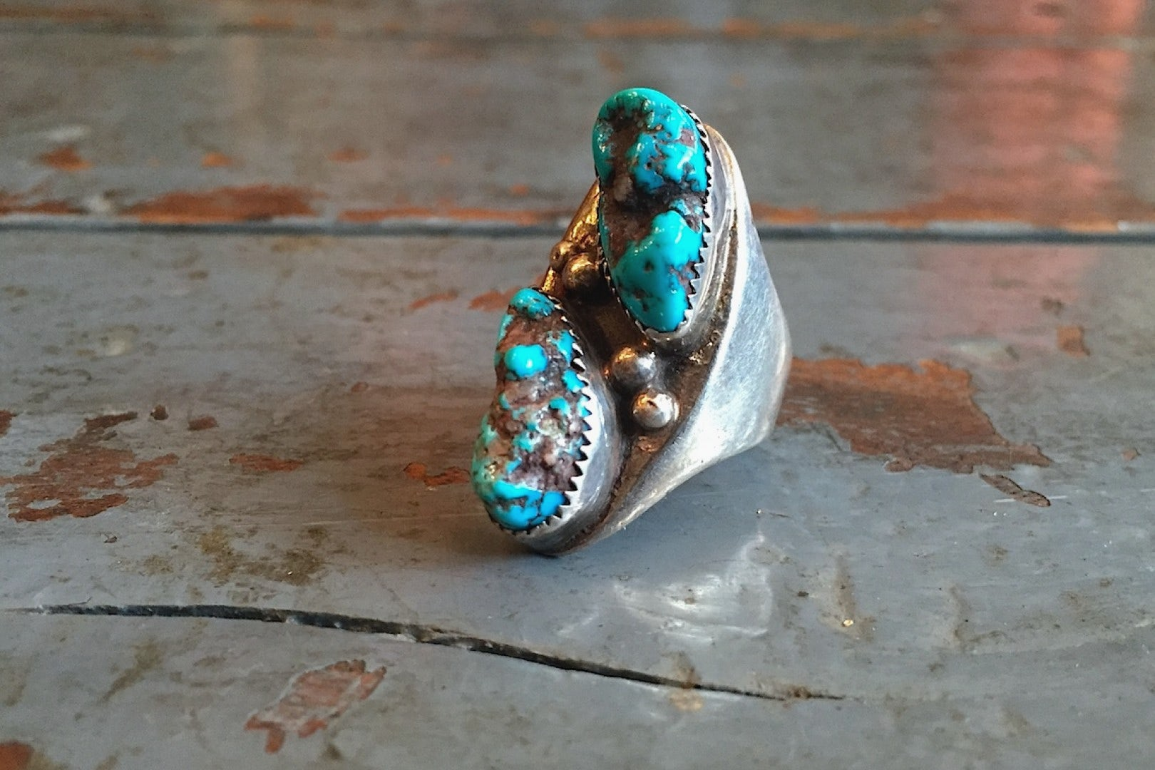 Independence Vintage Goods Two Stone Ring Sterling Silver & Turquoise