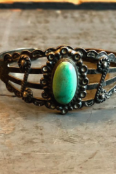 Independence Vintage Goods Curling Cuff Sterling Silver & Turquoise