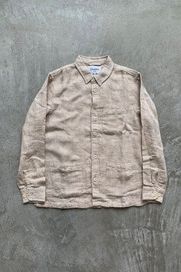 Corridor Natural Linen Herringbone Overshirt  Natural