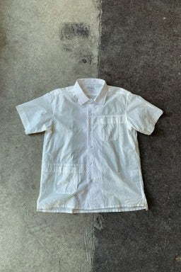 Engineered Garments Camp Shirt White Solid Cotton Lawn