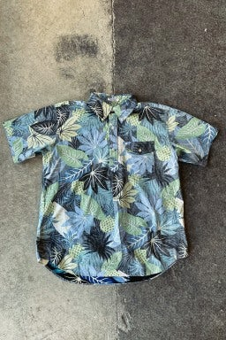Engineered Garments Popover BD Shirt Black/Blue Cotton Big Hawaiian Floral Print