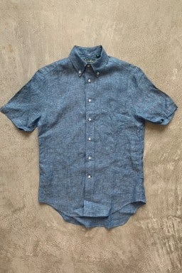 Gitman Bros. Vintage Short Sleeve Button Down  Blue Chambray Linen