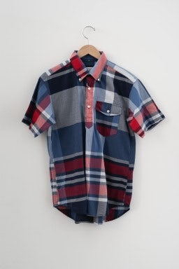 Engineered Garments Popover BD Shirt Navy/Red Big Madras Plaid
