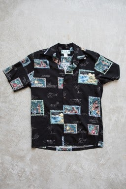 Two Palms Postcards Shirt Black