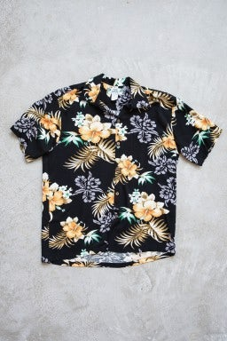 Two Palms Fern Hibiscus Shirt Black