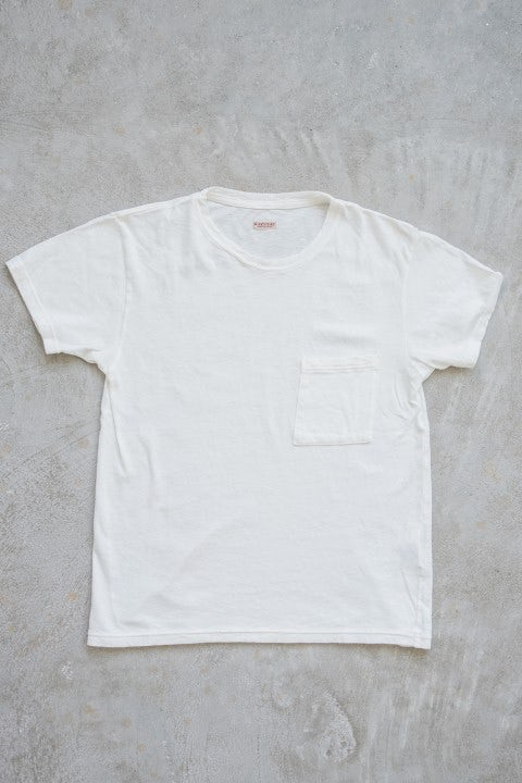 Kapital Gauze Jersey Crew Pocket T White