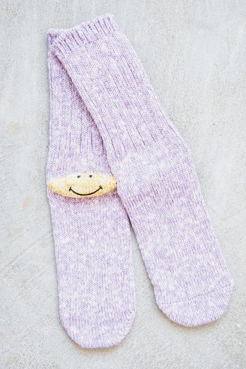 Kapital 56 Yarns 3x1 Rib Heel Smilie Socks Purple