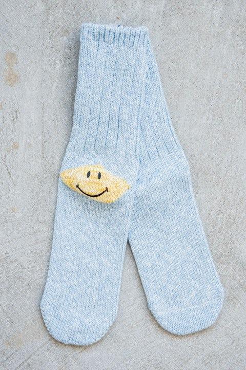 Kapital 56 Yarns 3x1 Rib Heel Smilie Socks Sax