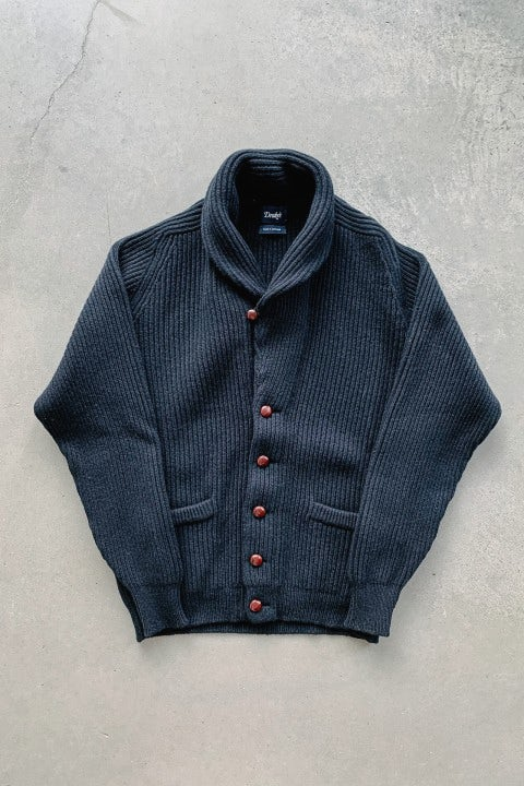 Drake's Lambswool Shawl Collar Cardigan Black