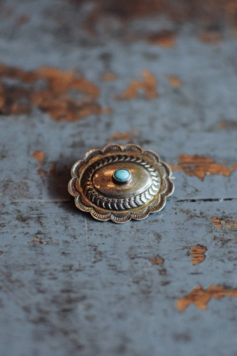 Independence Vintage Goods Small Concho Pin Sterling Silver & Turquoise