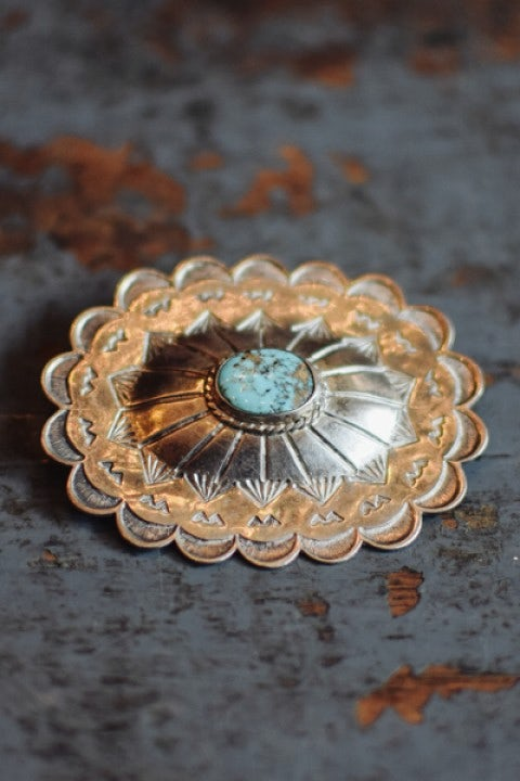 Independence Vintage Goods Concho Pin Sterling Silver & Turquoise