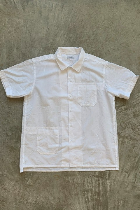 Engineered Garments Camp Shirt White Cotton Dobby Stripe