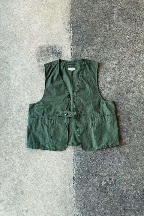 Engineered Garments Upland Vest Olive Cotton Ripstop