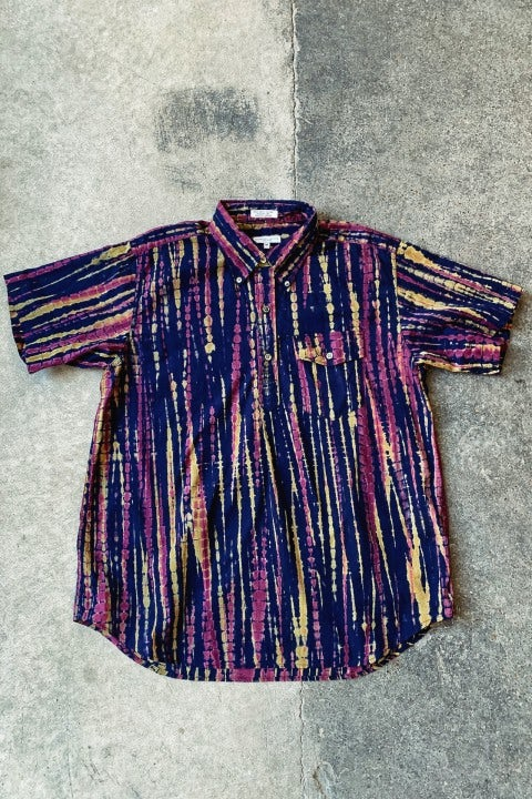 Engineered Garments Popover BD Shirt Navy Cotton Lawn Batik