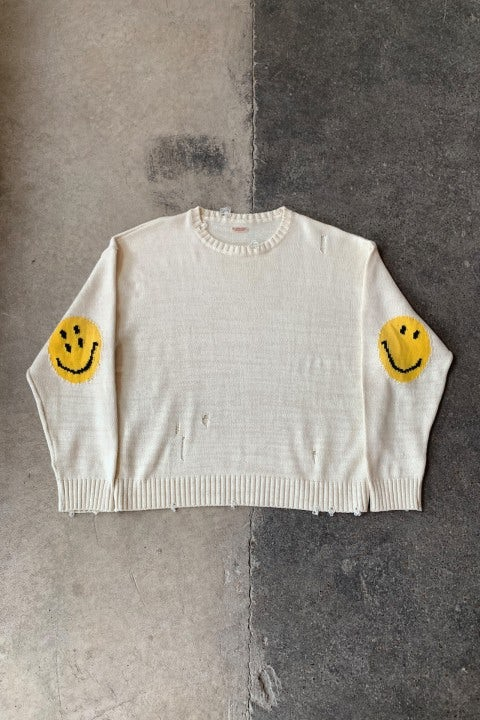 Kapital 5G Cotton Knit SMILIE Patch Crew Sweater Ecru