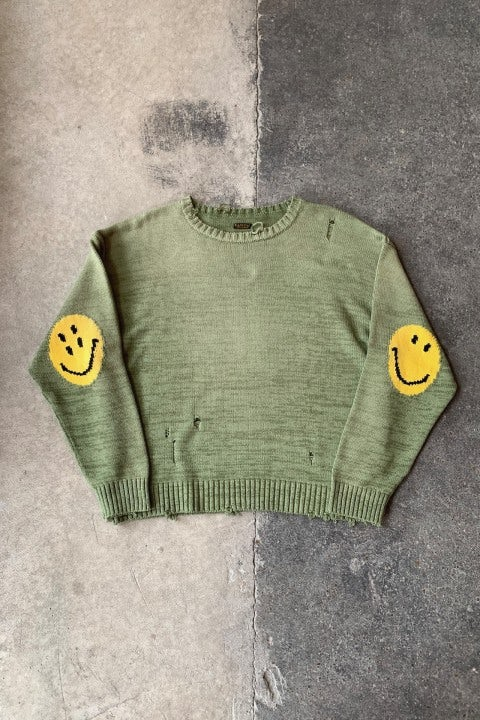 Kapital 5G Cotton Knit SMILIE Patch Crew Sweater Khaki